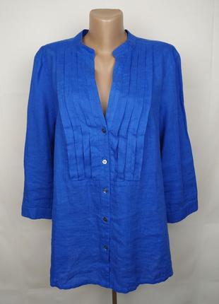 Блуза рубаха синяя льняная оригинал люкс бренд jaeger uk 16/44/xl