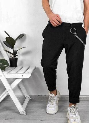 Мужские черные зауженные укороченные повседневные штаны