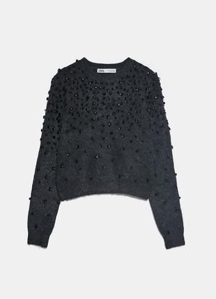 Красивый свитер zara с бусинами xs-s