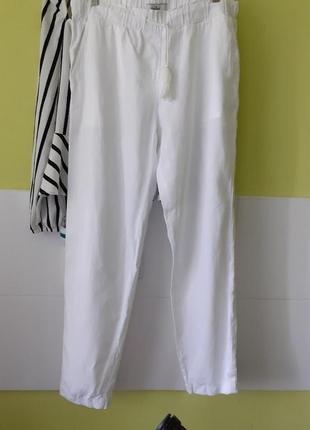 Белые брюки штаны джогеры джоггеры лён коттон