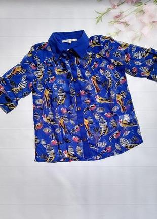 Яркая шифоновая блуза рубашка с птицами блузка uttam london