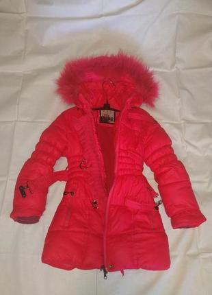Зимнее пальто- пуховик для девочки