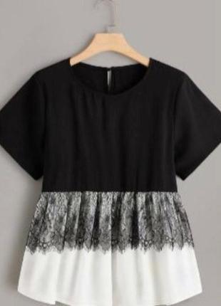 Черно бклая блуза размера плюс сайз