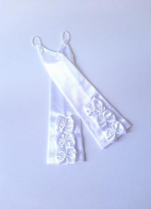 Перчатки белые с бантами высокие под нарядное платье