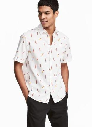 Рубашка мужская короткий рукав h&m, размер м