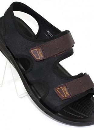 Текстильные мужские босоножки на липучках m2527-2 чёрно-коричневый