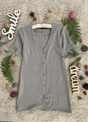 Базовое летнее платье рубашка с рюшами на рукавах №582