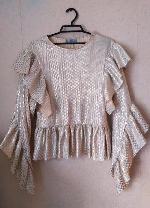 Трендовая  женская кофта zara свитер с рюшами нарядная повседневная