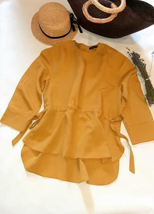 Льняная блуза цвета охра оверсайз