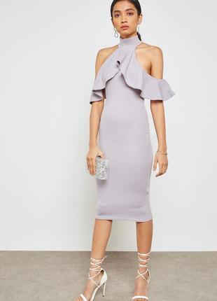 Шикарное миди платье футляр по фигуре сукня лаванда в обтяжку волан плаття міді