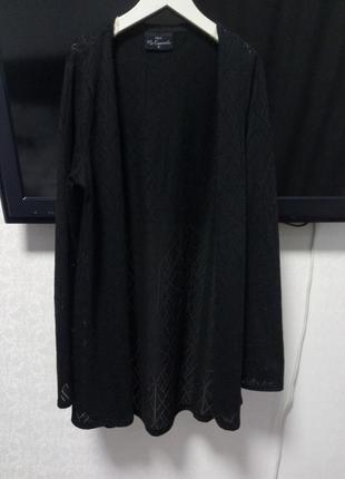 Легкий стильный черный  кардиган/кофта/реглан с перфорацией без застежки