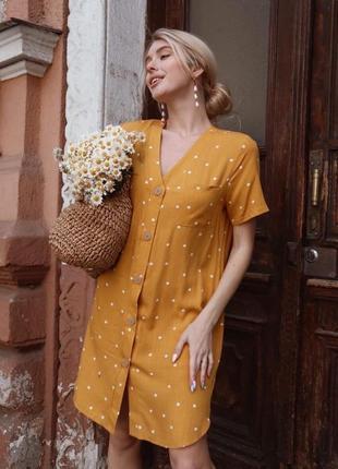 Платье льняное в горох оранжевое