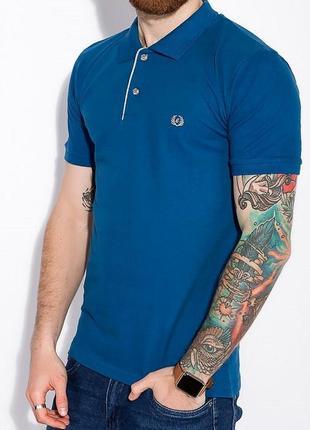 Поло футболка мужская однотонная хлопок синяя турция ls2030r