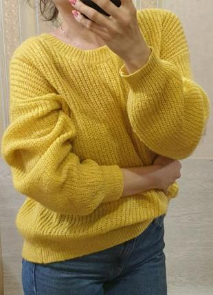 Брендовый объемный воздушный джемпер свитер оверсайз с мохером