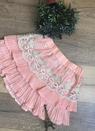 🌿плиссированная юбка-шорты с кружевом