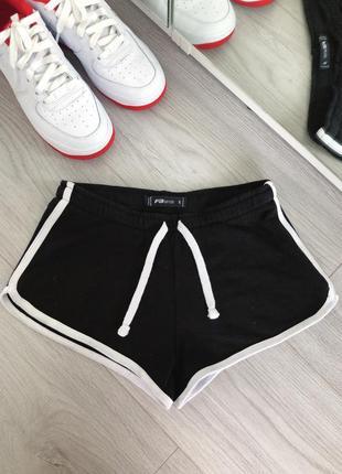 Спортивные шорты хлопковые чёрные размер s фитнес фито