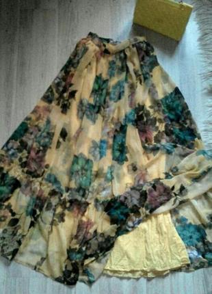 Бомбезная шифоновая испанская юбка-солнце в пол с воланом
