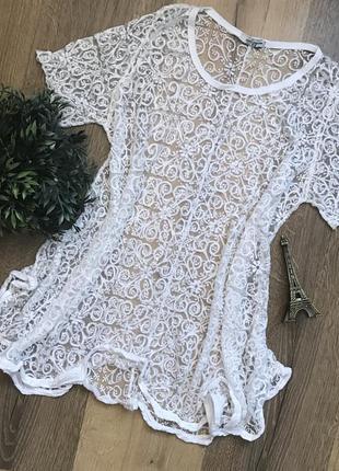 🌿легкая пляжная туника/футболка с выбитым рисунком