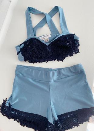 Винтажный костюмчик house of fabulous с бахромой london голубого цвета xs