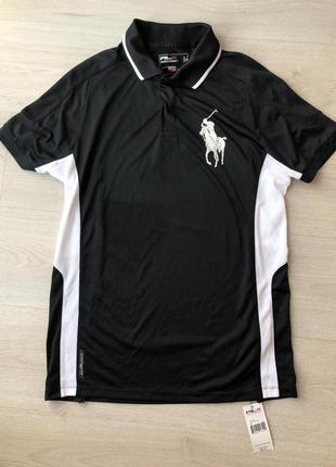 Новая черная белая тенниска футболка поло ralph lauren мужская