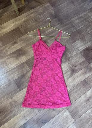 Кружевной розовый пеньюар