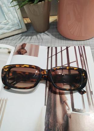 Очки солнцезащитные черепаховые анималистические ретро квадратные окуляри сонцезахисні5 фото