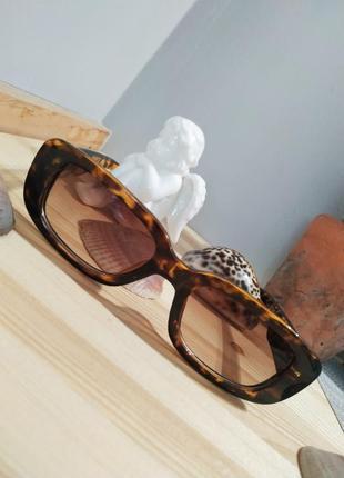 Очки солнцезащитные черепаховые анималистические ретро квадратные окуляри сонцезахисні6 фото