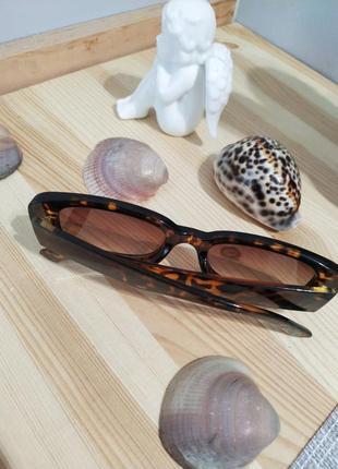 Очки солнцезащитные черепаховые анималистические ретро квадратные окуляри сонцезахисні8 фото