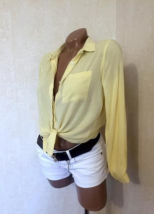 Блуза/рубаха,лимонного цвета,вискоза,классика стиль от c&a .