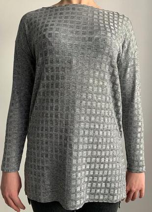 Кофта, світер, блуза, туніка колір серебро, тренд 2020, серая блуза.