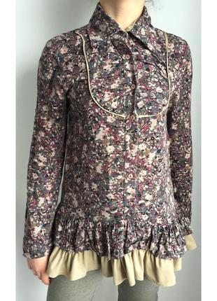 Туника, кофта з квітами, длинная кофта, коричневая кофта.