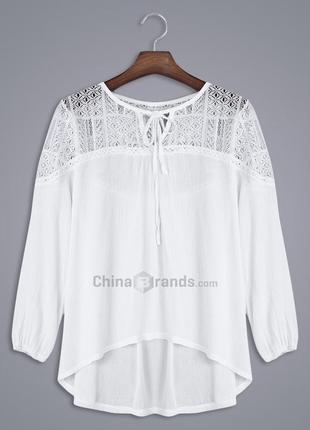 Белая блуза с ажурными вставками zara