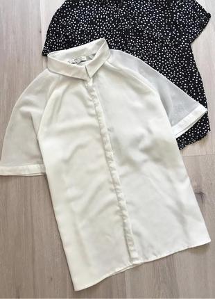 Нова новая белая біла сорочка блуза з комірцем коротким рукавом papaya m
