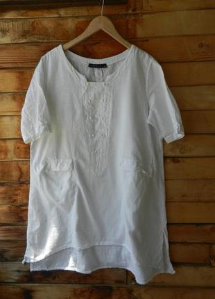 Чудесная натуральная блуза рубашка с карманами
