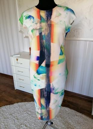 Стильное силуэтное платье zara, размер 46-48.