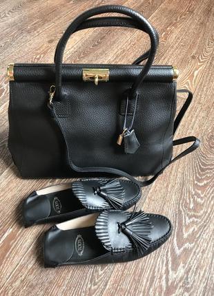 Кожаная вместительная сумка new look made in italy