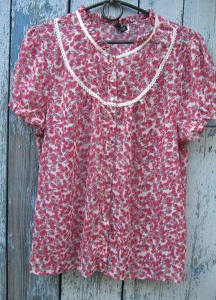Рубашка блуза мелкий цветочек вискоза батал new look