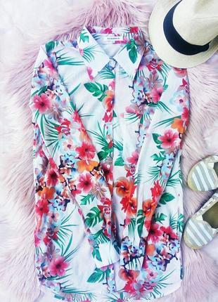 Рубашка блузка в цветочный тропический принт под шифон