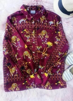 Сатиновая атласная рубашка в животный хищный принт гепард леопард сафари узоры