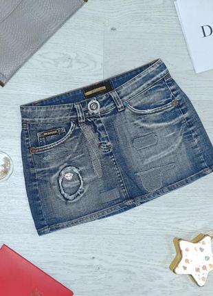 Крутая брендовая джинсовая мини юбка булгари, италия