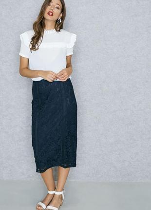 Красивейшая кружевная юбка миди карандаш на подкладке р.12
