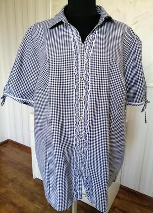 Суперская рубашка в мелкую клеточку большого размера 24-26 uk, наш58-60.