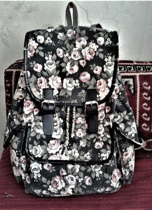 Рюкзак тканевый красивый цветочный принт сумка
