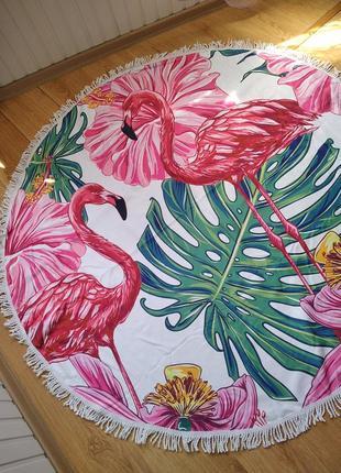Пляжный коврик-полотенце фламинго