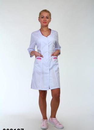 Белый халат медицинский, коттон, р. 42-74; женская медицинская одежда, 893137