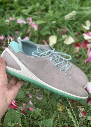 Кожаные летние кроссовки/мокасины ecco biom
