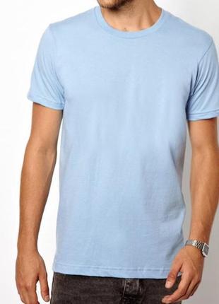 Голубая однотонная базовая футболка 100% хлопок размеры