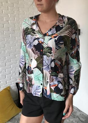 Летняя рубашка в гавайский принт zara