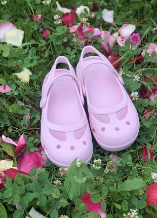 Нежно-розовые кроксы мери джейн crocs mary jane 13 размер