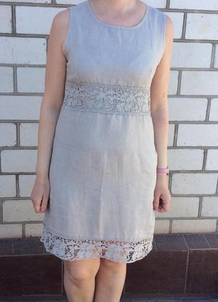 Италянское платье с кружевом лен
